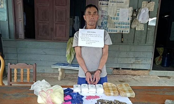 Lao man arrested with ecstasy pills, explosives, ammunition