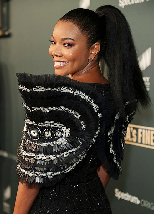 Gabrielle Union wore a tweed dress designed by Cong Tri in a film event on Sunday. Photo courtesy of Cong Tri