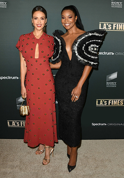 Gabrielle Union (R) appeared in the introduction event of her series LAs Finest. Photo courtesy of Cong Tri