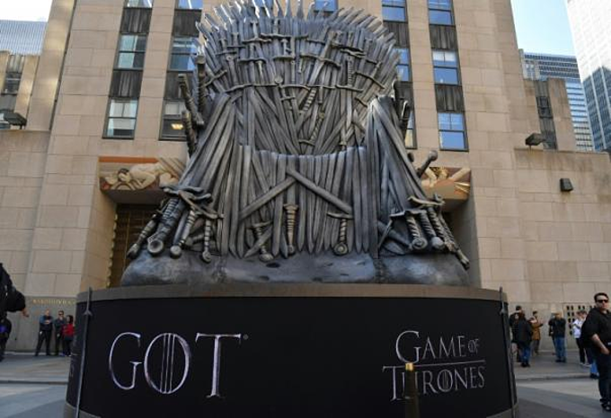 A giant Iron Throne was displayed in New York ahead of the Game of Thrones final season -- although just who will end up ruling from it remains one of the shows enduring mysteries. Photo by AFP/Angela Weiss