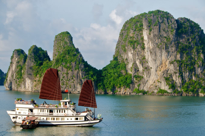 A cruise ship is seen at Bai Tu Long Bay, the lesser-known neighbor of Ha Long Bay. Photo by Shutterstock/angiang