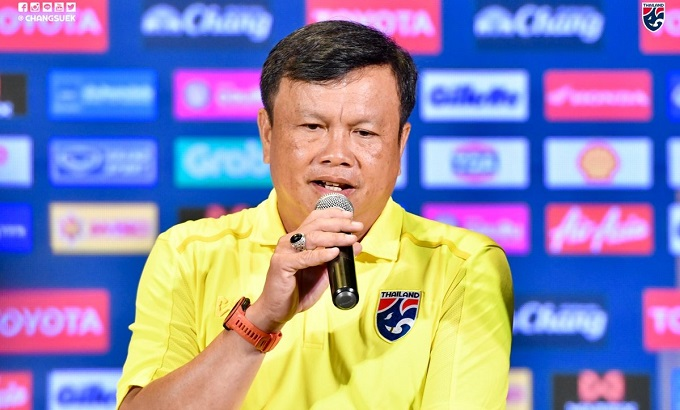 Thailand head coach Sirisak Yodyardthai at the press conference after Kings Cup draws. Photo courtesy of Thailand National Football Team