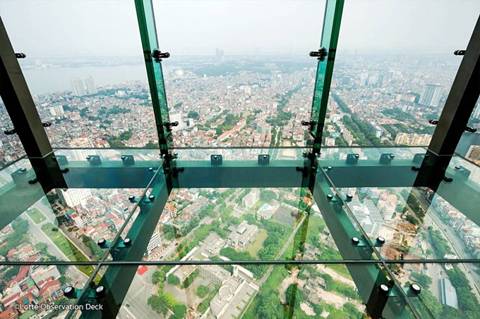 Tourists will be charged for a $10 each and takes around 50 seconds for elevator ride to reach the 65th floor of the Lotte Center to enjoy aerial city views of Hanoi.
