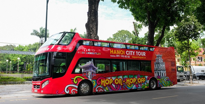 The first double-decker bus route was officially launched in Hanoi in May. Photo by VnExpress/Anh Trung.