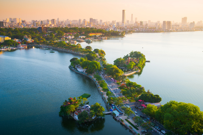 An aerial view of Hanoi at sunset. Photo by Shutterstocks/hoangduy.