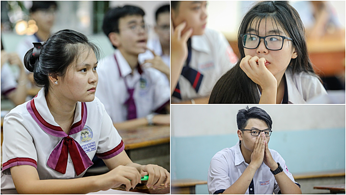 High school seniors wait for the English test to begin in the exam site of Ernst Thälmann School in D1, Ho Chi Minh City. Photos by Thanh Nguyen.