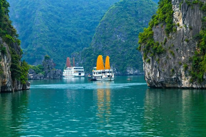 Cruise ships are popular in Ha Long Bay. Photo by Shutterstock/namanh
