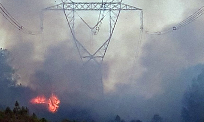 Electricity restored after forest fires impact transmission lines