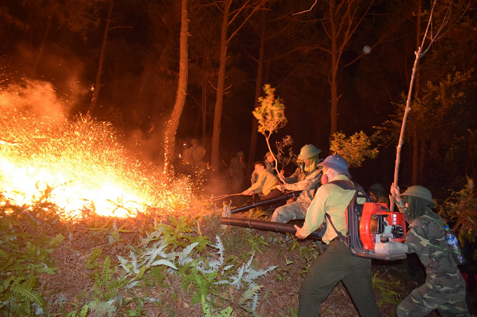 Firepolice and soldiers fight a fire that broke out in a forest in Ha Tinh Province, June 28, 2019. Photo by VnExpress/Duc Hung.