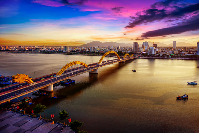 Dragon Bridge is one of the top tourist destinations in Da Nang. Photo by Shutterstock/Huy Thoai