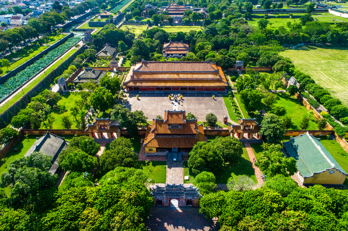An aerial view of the Hue Imperial Citadel, a major tourist attraction in the former capital Hue in central Vietnam. Photo by Shutterstock/anhuy