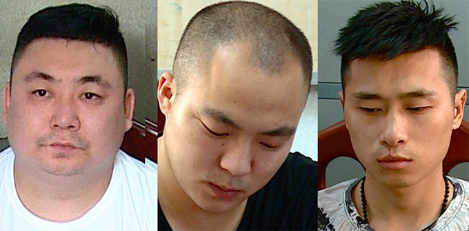 Three of four Chinese suspects were arrested on Monday for killing their compatriot in a karaoke parlor in Nha Trang on July 6, 2019. Photo courtesy of Khanh Hoa Police.