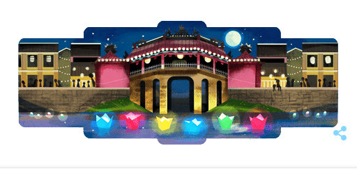 A screenshot from Google Doodle featuring Hoi An ancient on its homepage, July 16, 2019.