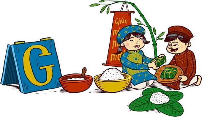 A screenshot from Google Doodle features a family gathering to wrap and cook banh chung on Lunar New Year's Eve in 2013.