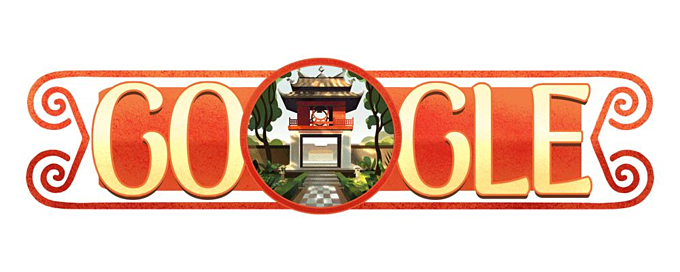 A screenshot from Google Doodle features the image of Khue Van Cac, the pavilion of the Constellation of Literature located inside the Temple of Literature in 2017.