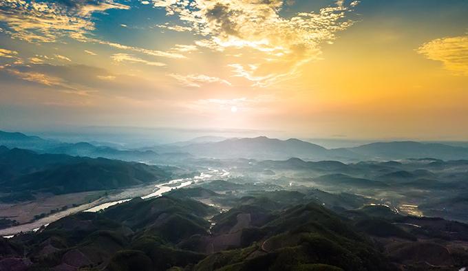 Aerial view of lush green Quang Ngai