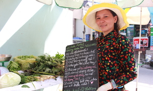 A vendor with her campaign fights plastic bag blight
