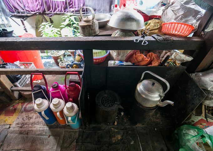 Without real kitchens, food is cooked in these cramped spaces.