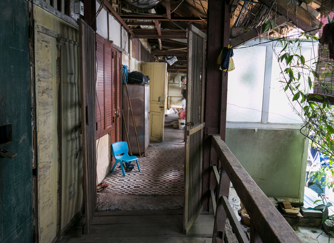 A corridor in the dilapidated apartment block on Ham Tu Quan Street in Hanoi.