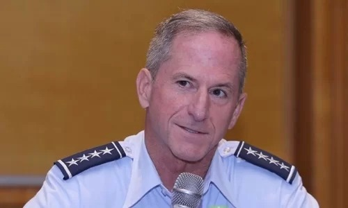 General David Golfein, hief of Staff of the U.S. Air Force, speaks at a press conference in Hanoi, August 18, 2019. Photo by VnExpress/Ha Trung.