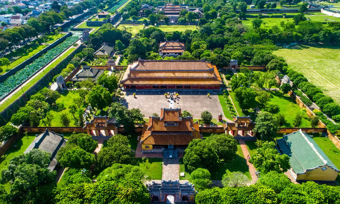 An aerial view of Hue Imperial Citadel, a major tourist attraction in the former capital Hue in central Vietnam. Photo by Shutterstock/anhuy.