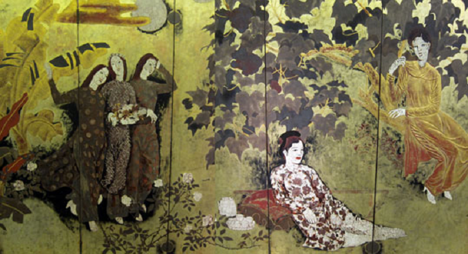 Nguyen Gia Tri, Girls in a garden, 1939, lacquer.