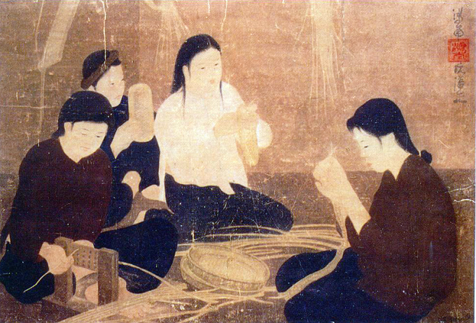 Nguyen Phan Chanh – Rattan Weavers, 1960, silk