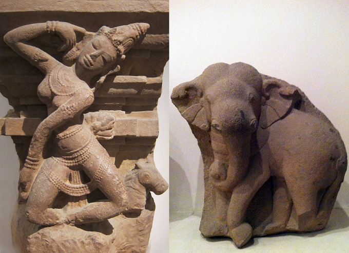 Apsara and Elephant sculptures, Champa, Quang Nam Province, VII-IX centuries, sandstone