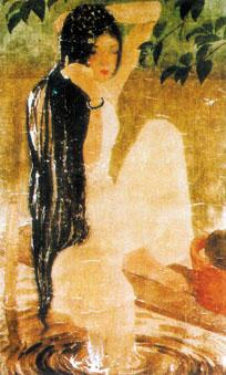Le Van De, Young girl by a pond, silk, 1943.