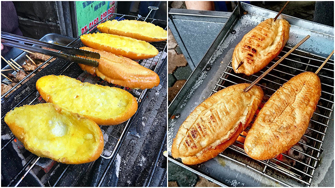 Baguettes are grilled over charcoal after they are coated with butter and honey. Photo by VnExpress/Dinh Dinh.