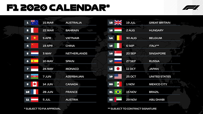 The schedule of F1 races in 2020. Photo courtesy of Formula 1 officiial Twitter account.