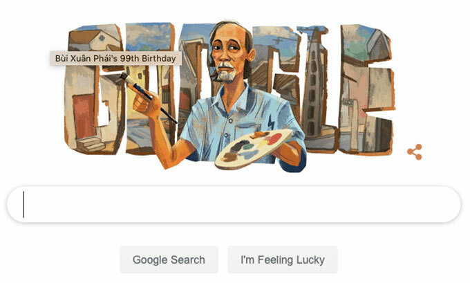 Google features Vietnamese painter Bui Xuan Phai on its home page on September 1, 2019. Screenshot taken from Google.com.
