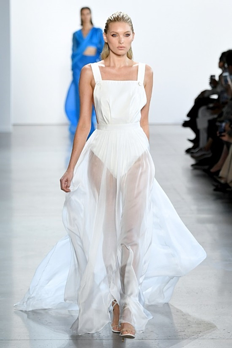 A white sheer dress in the collection. According to NYFWs official website, Tris collection is state-of-the-art and a fascinating story to be told.