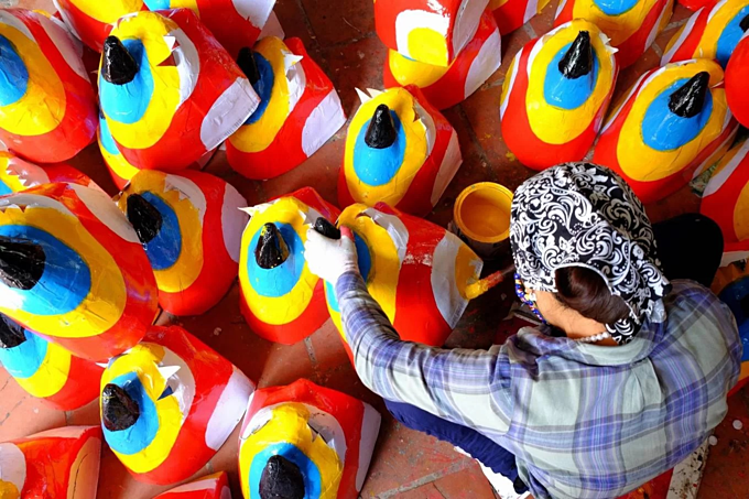 Northern village makes masks and drums for Mid Autumn Festival  - 5
