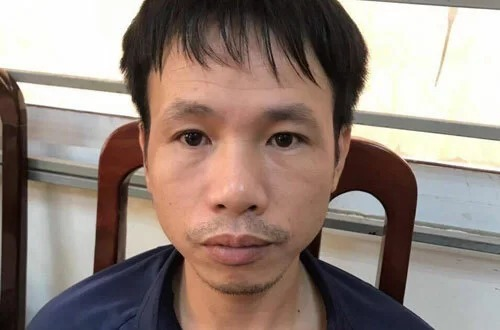 Vu Trung Truc at the police station. Photo courtesy of Dong Da District police.