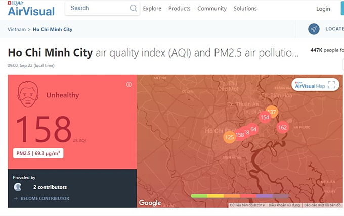 HCMC's air quality index (AQI) is at 158 at 9 a.m. on September 22, 2019 in Ho Chi Minh City measured by AirVisual, a Switzerland-based air quality monitoring facility that generates data from public, ground-based and real-time monitoring stations.