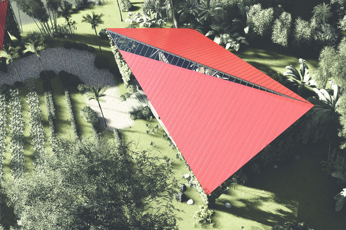 The metal roof was inspired by the shape of a kite, which not only reminded the owners of their childhood by also broke the monotony of local traditional houses in the area.
