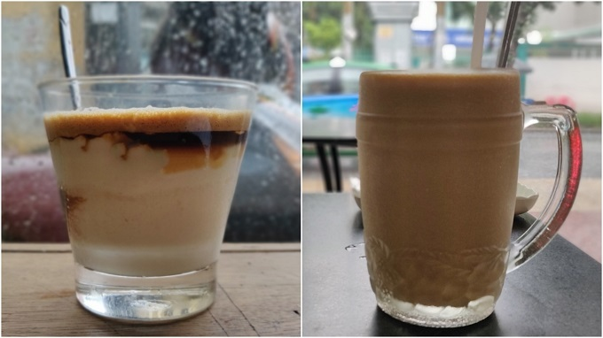 Yoghurt coffee (L) and sapodilla coffee served in Ho Chi Minh City. Photo by Nafi Wernsing.