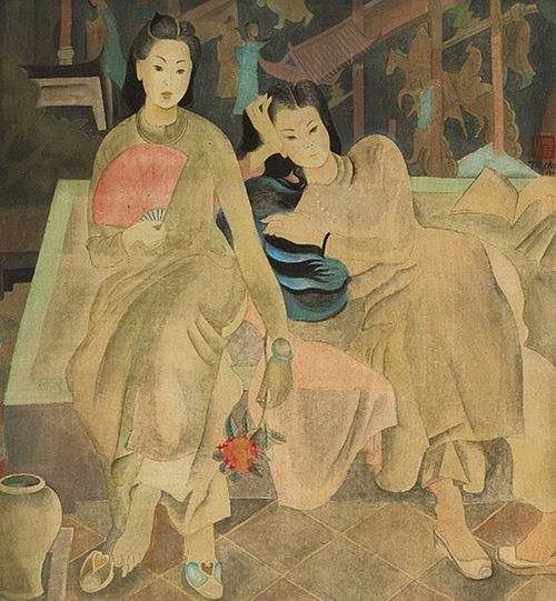 The painting titled Hai Co Gai that Sothebys Hong Kong claims to have been created by painter Tran Van Can. Photo courtesy of Sothebys.