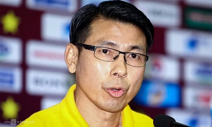 Mayasias coach Tan Cheng Hoe speaks at a press conference in Hanoi, October 9, 2019.Photo by VnExpress/Lam Thoa.
