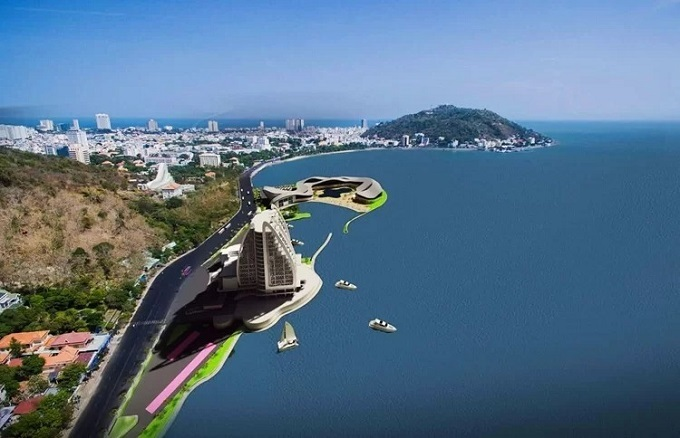 A blue print of a tourism and aquarim complex that will enroach 200 meters into the sea in Vung Tau. Photo courtesy of Vung Tau Cable Car Tourism JSC.