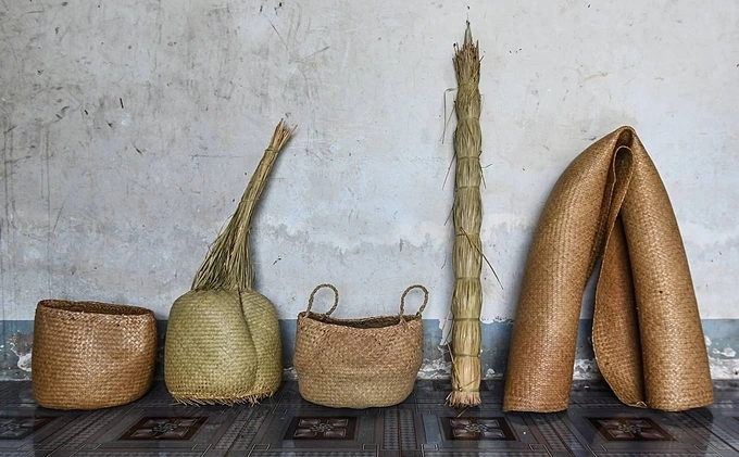Some handicrafts made from gray sedge are baskets, bags, and cushions. In addition to Phu My commune, some localities in Vietnam also grow and produce handicrafts made from the plant like My Hanh Bac commune in Long An Province, also in the Mekong Delta and Pho Trach village in the Central province of Thua Thien Hue.