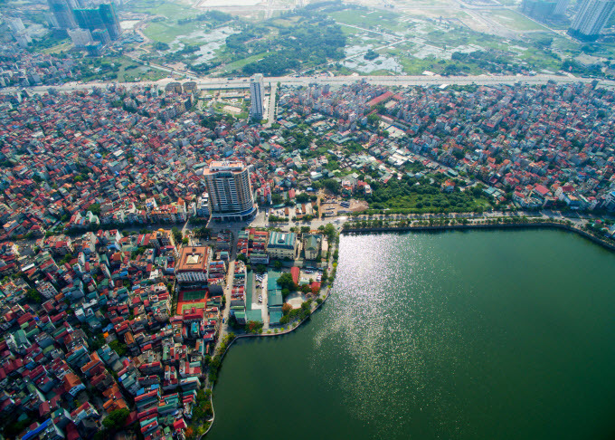 An aerial view of Hanoi from above. Photo by Shutterstock/Andy Tran.