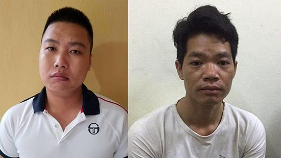 Nguyen Chuong Dai (L) and Hoang Van Tham at the police station. Photo courtesy of Hoa Binh Province police.