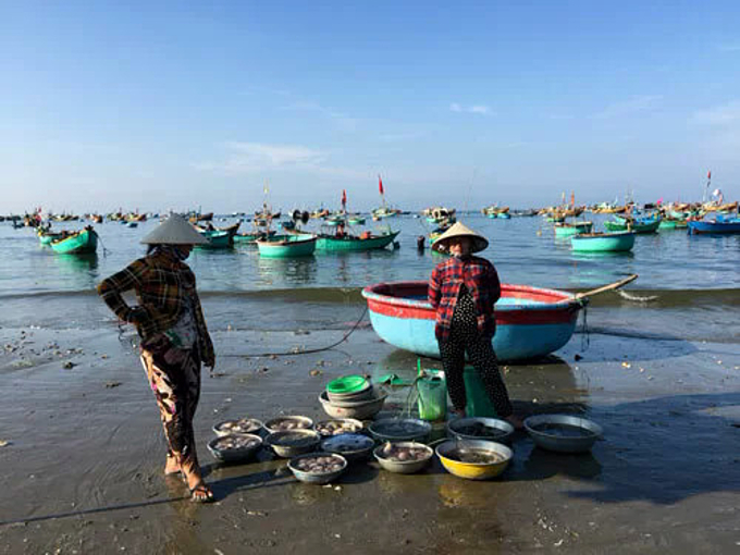 At Mui Ne fishing village, fishermen sell their catch by the aluminum basin. Photo by VnExpress/Khuong Nha.
