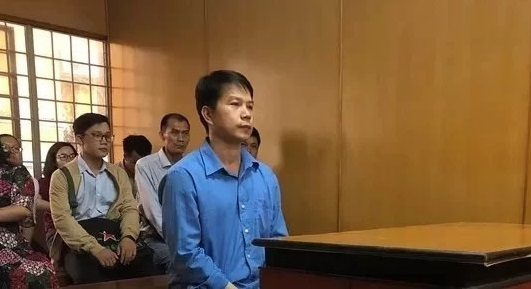 Nguyen Thanh Don stands in court on Monday where he was sentenced to three years and six months in jail. Photo acquired by VnExpress.
