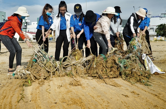 Nine students work together to pull a net out of the sand.
