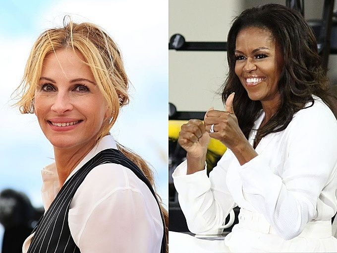 Julia Roberts (L) and Mrs Obama will travel to Vietnam on December 9. Photo by Shuttlestock/Denis Makarenko and Jstone.