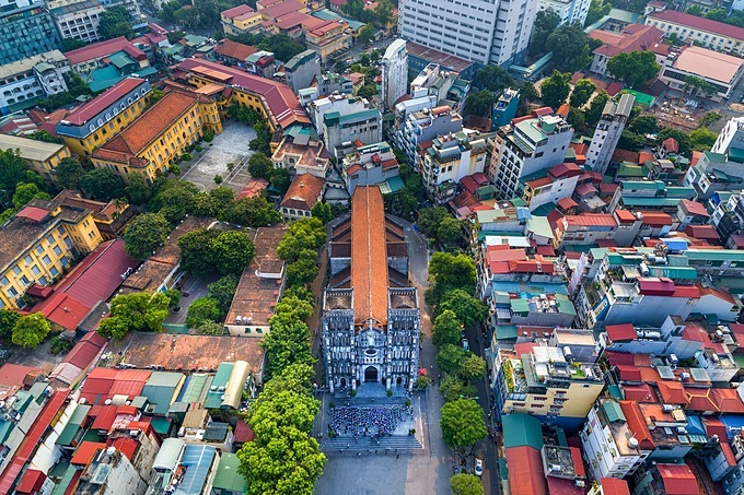 An aerial view of Hanoi St. Josephs Cathedral in downtown Hanoi. Photo by Shutterstock/Anh Thuy.