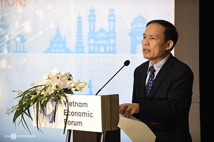 Ngo Hoai Chung, Deputy General Director of Vietnam National Administration of Tourism, speaks at the Vietnam Travel and Tourism Summit held in Hanoi on December 9, 2019. Photo by VnExpress/Kieu Duong.